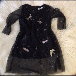 H&M Blue Sheer Tulle LS Dress W/Peter Pan Collar